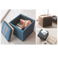 купить Solid wood storage stool fabric change shoe stool multifunctional storage stool Japanese style coffee table stool по цене 4576.31 рублей