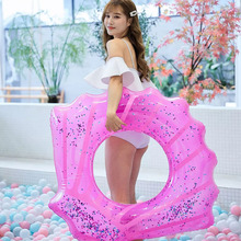 Hawaii Shiny Shell Swim Ring Sequin Inflatable Seat Float Adult Kids Gift Pool Toy Summer Beach Party Decoration Float Mattress angel shiny wing sequin inflatable float 180cm swim ring hawaii summer beach party decoration pool toy float mattress gift adult