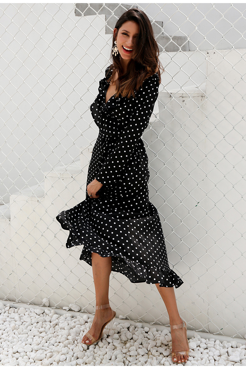 women 39 s dress 2019 autumn dot printed long sleeve party dresses plus size v neck beach dress pure color large dresses in Dresses from Women 39 s Clothing