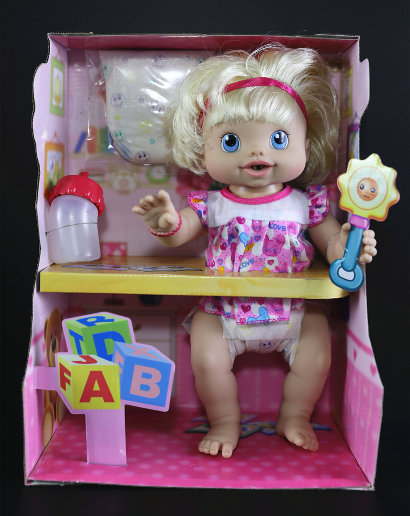 [Nouveau] 35cm nouveau-né bébé poupée peut boire de l'eau lait peigne cheveux changement couche pipi parler rire coup de pied Reborn bébé poupées fille cadeau