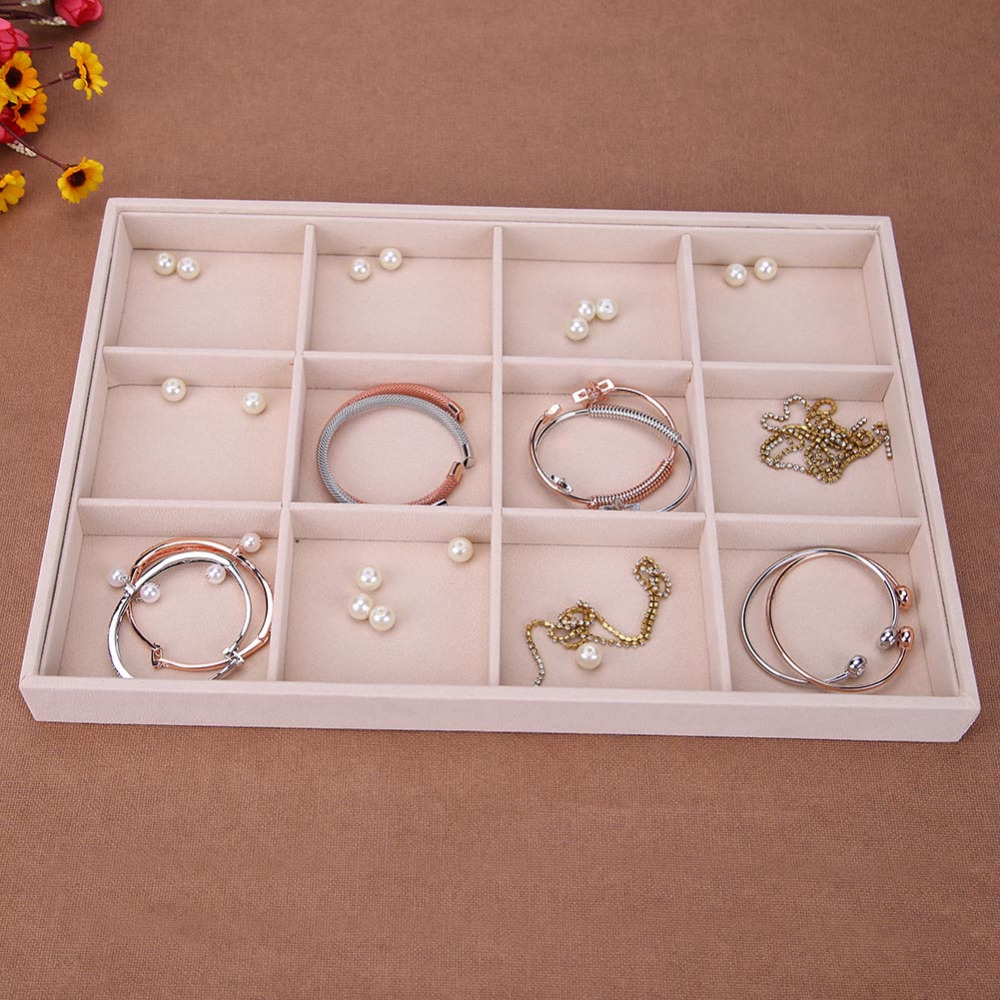 Fleece Jewelry Box Plate Jewelry Display Earring Holder Ring Necklace Display Tray Makeup Organizer Case Display Storage Box