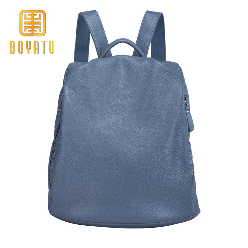 BOYATU Brand Leather Backpack Female Vintage School Backpacks Blue Women  2018 Bags for Girls Hobo Casual Daypacks Rucksack-in Backpacks from Luggage    Bags ... 732ab2f471979