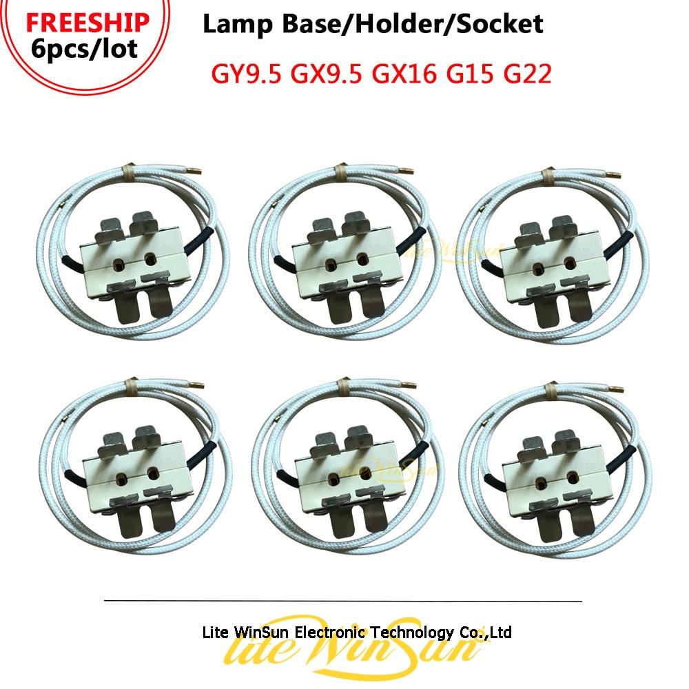 Litewinsune FREESHIP 6PCS/LOT Lamp Base GY9.5 Lamp Holder Single Ended Base Lamp Socket GX9.5 G15 G22 GX16