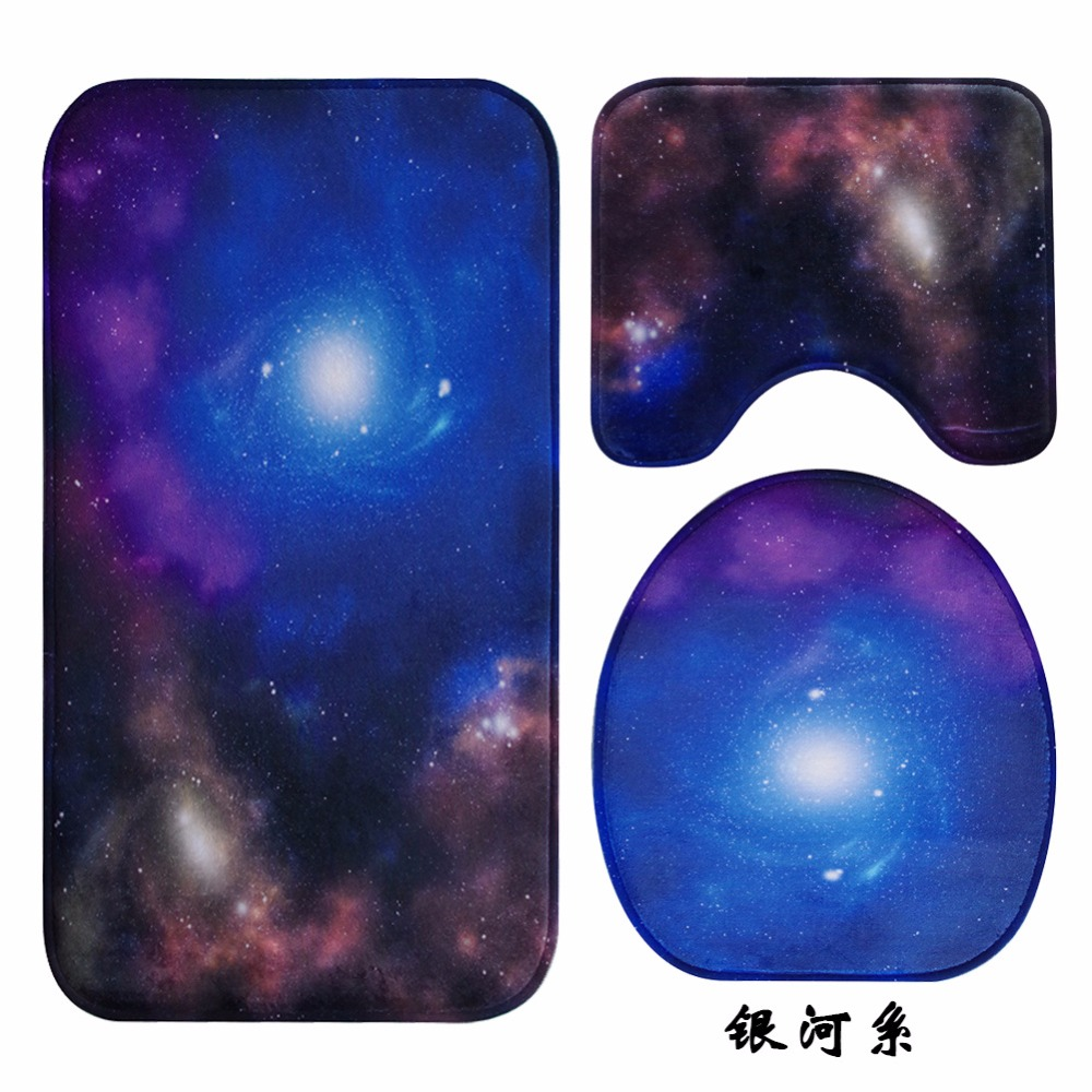 Magnificent Us 16 91 29 Off 3D Galaxy Space Lid Toilet Seat Cover Wc Pedestal Rug Bathroom Mat Carpet For Household Car Seat Restroom New Year Gifts 3Pcs In Theyellowbook Wood Chair Design Ideas Theyellowbookinfo