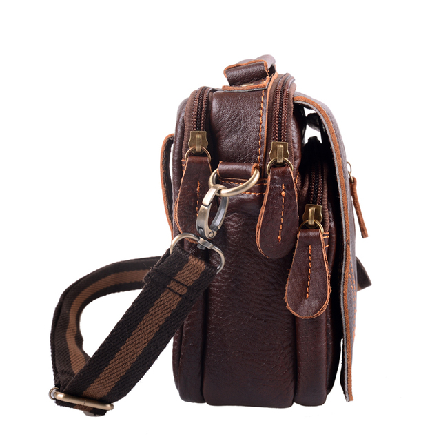 Men's Genuine Leather Vintage Shoulder Messenger Bag male Casual multifunction Small Crossbody Flap hangbag man Messenger Bags 3