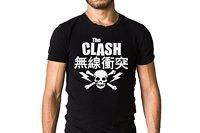 Столкновение японский череп футболка СКА, рокабилли, новая волна панк, пост панк Для мужчин футболка печати хлопок короткий рукав Футболка