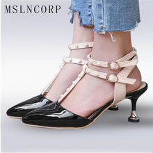 купить Plus Size 34-43 New Fashion Women Designer Shoes Thick High Heels t Strap Shoe For Woman Rivet Stud Patent Leather Sandals Pumps по цене 1847.95 рублей