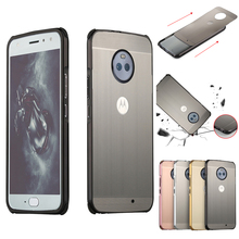 For Motorola Moto E5 Plus Case for E5+ Brushed Back Cover Hard with Plating Metal Frame cover
