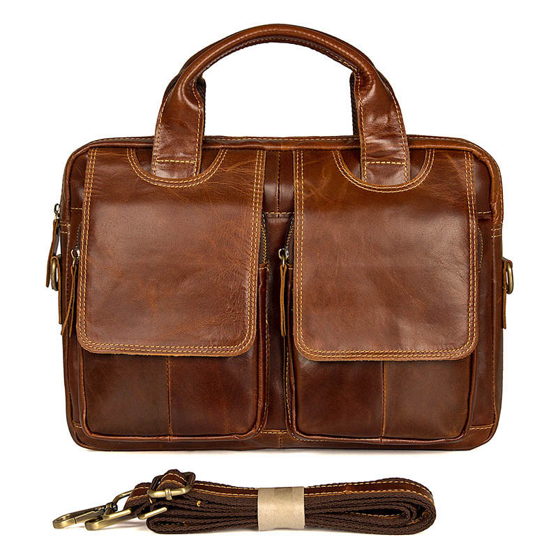 Arrival Genuine Leather Man Casual Briefcase For 15.6 Inch Laptop Men's Crossbody Bags Business Large capacity Fashion Shoulder