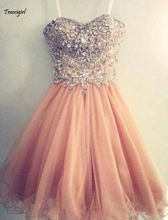Popular Homecoming Dresses Spaghetti Strap Tulle Beaded Short Coral Free Shipping Junior Senior Cocktail Dresse