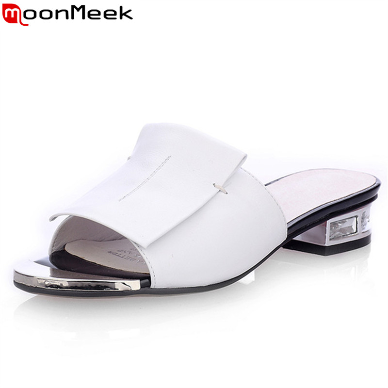 MoonMeek New summer high quality square heels genuine leather shoes women sandals ladies white and black