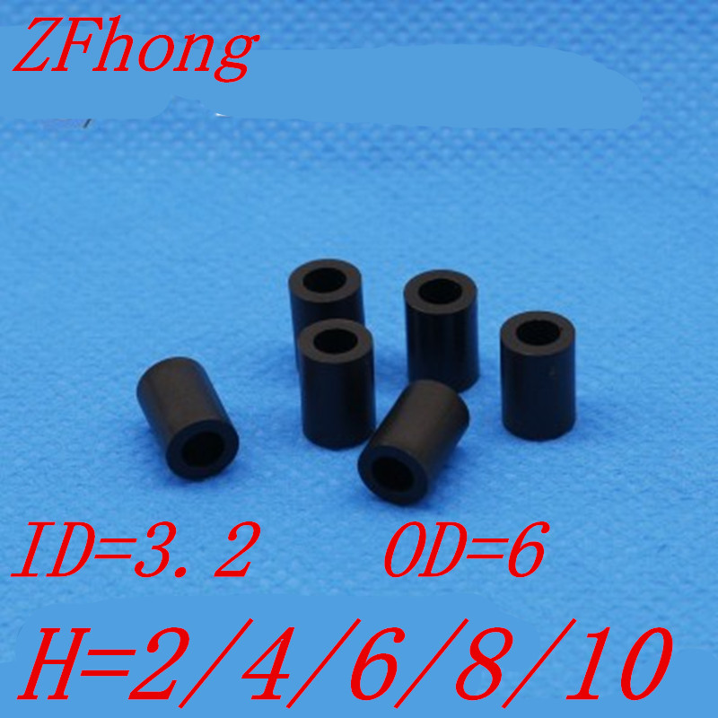 <font><b>1000pcs</b></font>/lot <font><b>m3</b></font> black ABS Nylon Round Spacer / Round Standoff spacer <font><b>M3</b></font>*L Length(L)=2~10mm ID=3.2 OD=7 image