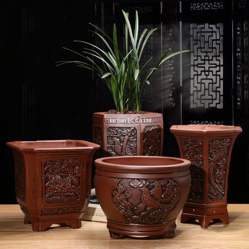 Fioletowy gliny doniczki doniczki sukulenty Bonsai Macetas klasyczny kwiat Clivia garnki nieszkliwione ceramiczne donice Bonsai