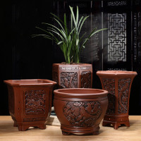 Purple Clay Flower Pots Flower Pots Succulents Bonsai Macetas Classical Flower Clivia Pots Unglazed Ceramic Bonsai Pots