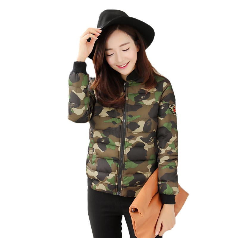 ФОТО Womens Winter Jackets and Coats Print Cotton Padded Coat Camouflage Clothing Stand Collar Patch Designs Outwear Female PW0304