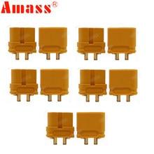 10 connecteurs de mise à niveau AMASS XT60U XT60 avec fiche banane plaquée or de 3.5mm (5 paires)