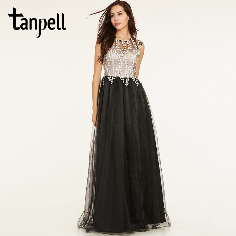 Tanpell Long A Line Evening Dress Black Cap Sleeves Floor Length Gown Cheap Women Scoop Neck Appliques Formal Evening Dresses