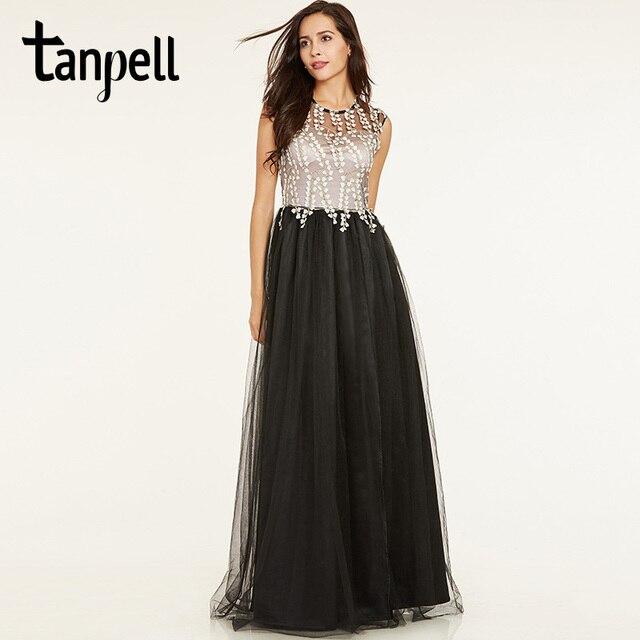 Tanpell long a line evening dress black cap sleeves floor length ...