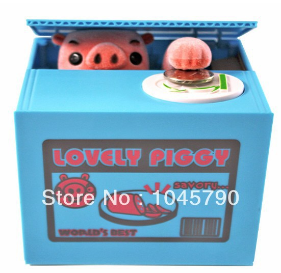 1X Automated Lovely Naughty Pig Steal Coin Piggy Bank Money Box Coin Bank For Christmas Gift Birthday Gift