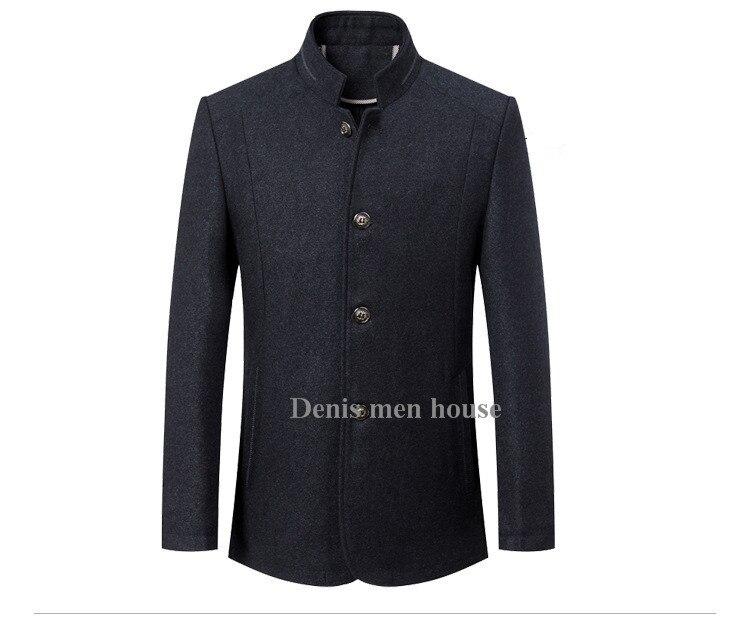 Nouveau Et as Mince Veste Mode Hommes Collier Custom Rembourré Stand Picture Made Picture D'hiver Laine Automne Manteau De 2016 As vwq0EUw