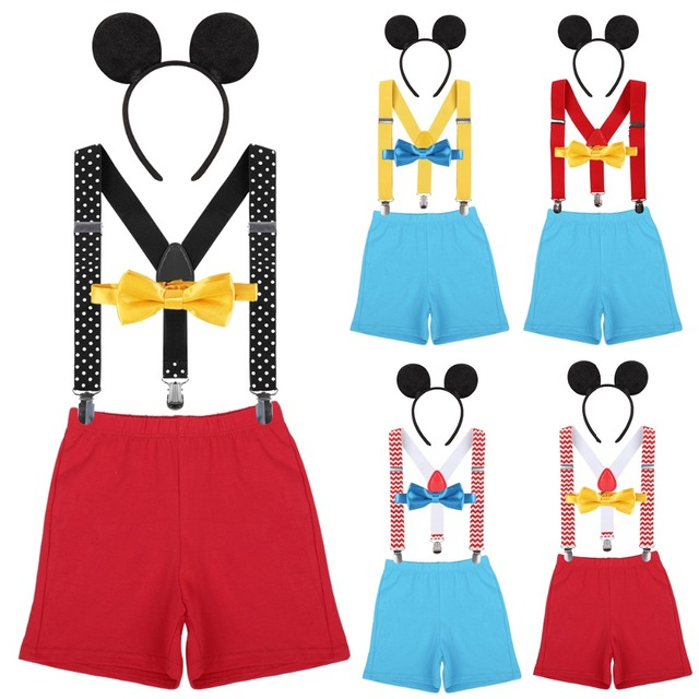 4pcs Set Mickey Mouse Baby Boys Girls 1st Birthday Cake Smash Outfit Shorts Y Back Suspenders Bow Tie Headband Cute Clothes