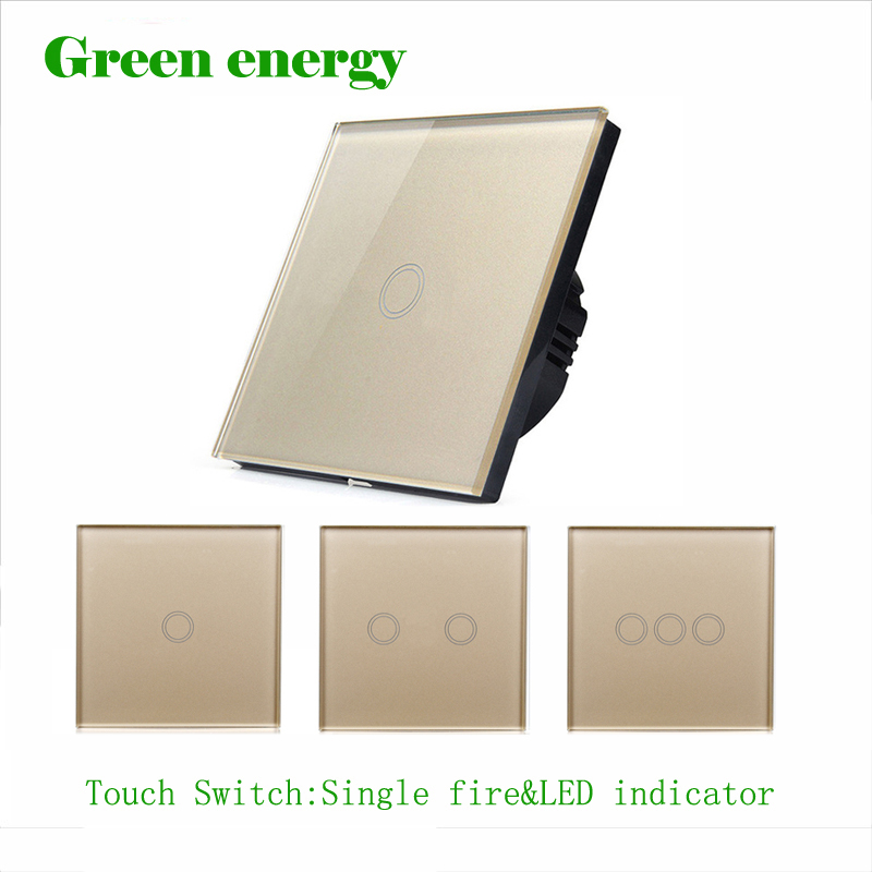 EU standard Smart touch switch,Golden Crystal Glass Panel ,Touch Wall Light Switch,Touch Switch with LED indicator wall light touch sensor switch 3gang1way golden glass panel led us au standard touch switches ac220v 110v smart home