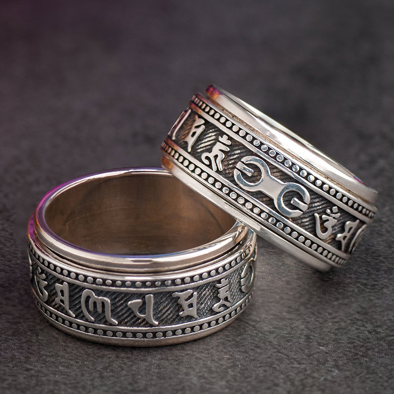 925 Silver Mantra rings for men Rotatable Om Mani Padme Hum Tibetan Buddhism fashion jewelry