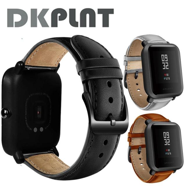 DKPLNT Black Buckle Genuine Leather for Xiaomi huami Amazfit Bip BIT PACE Lite Youth Watch Band strap fitness bracelet