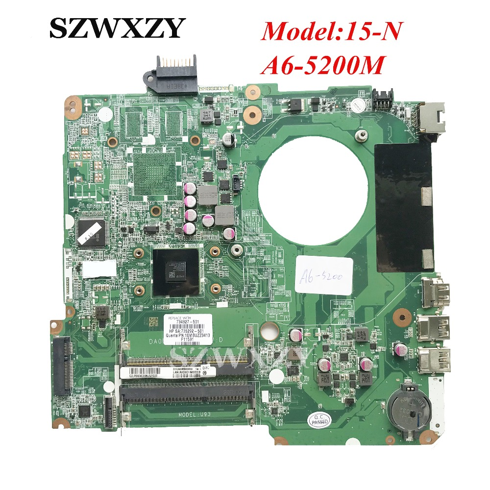 For HP 15 N 15 F Series Laptop Motherboard 734827 501 734827 001 A6 5200 Processor