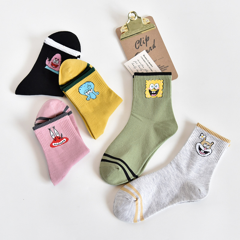 Women's Socks & Hosiery 1pair Cartoon Character Cute Short Socks Women Harajuku Patterend Ankle Socks Ankle Funny Socks Female Spongebob Squarepants The Latest Fashion Stockings