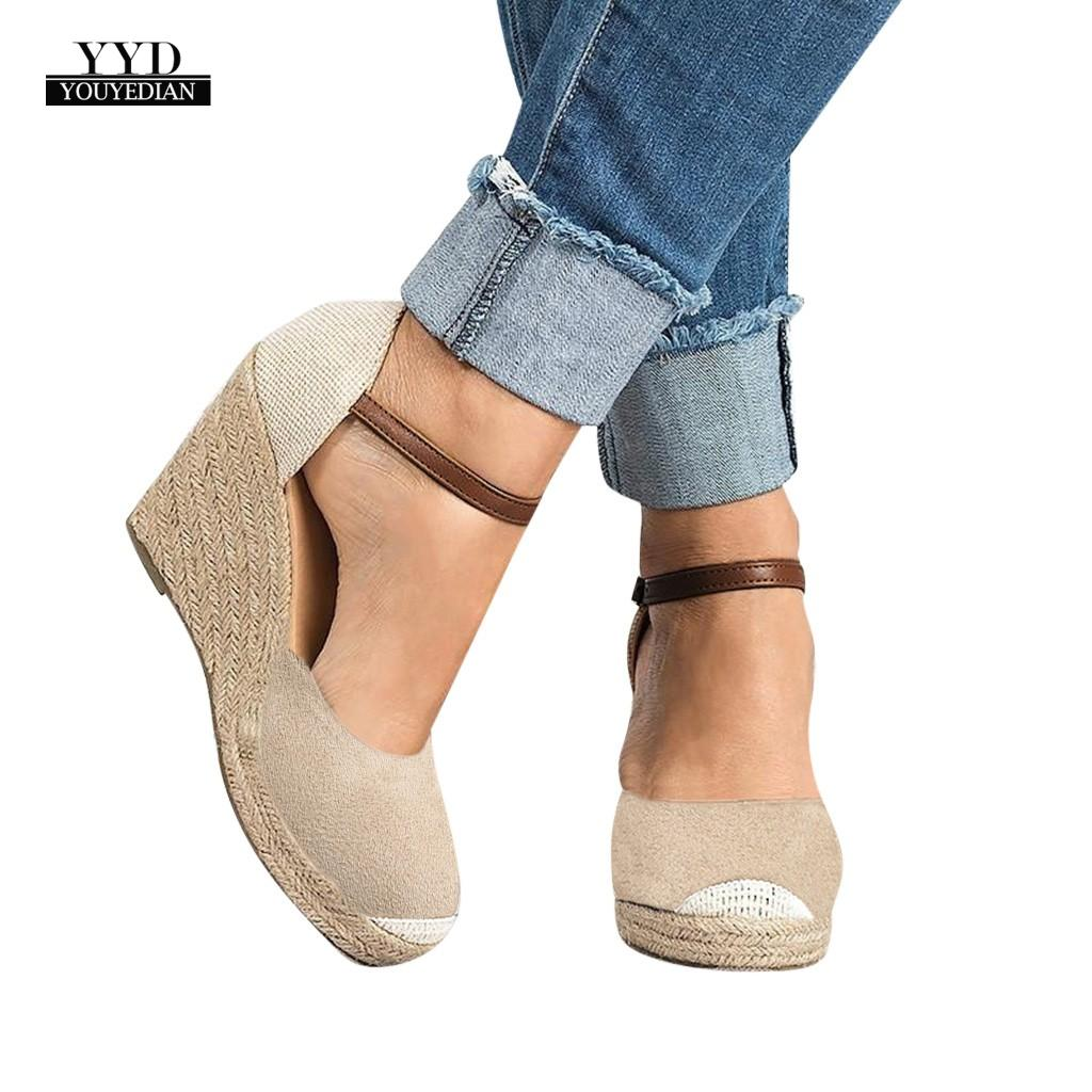 YOUYEDIAN Women Wedges High Ankle Fashion Sandals Round Toe Casual Shoes  Flock Sexy High Heels Sandals Women #w35