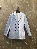 2018 Новое поступление осенние и зимние пиджаки зубчатый с длинным рукавом двубортный разноцветные Для женщин Блейзер Бесплатная доставка