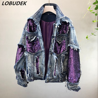 Tide Lady Winter Thick Warm Denim Cotton padded Outerwear Purple Black Sequins Jean Coat Fashion Loose Denim Coats Jean Jacket