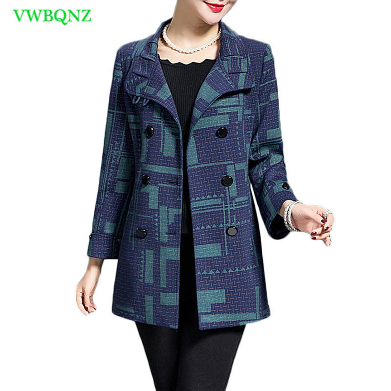 Middle-aged Women Windbreaker Coat Autumn Slim Long sleeve   Trench   Coats Noble Womens Double-breasted Plus size Overcoats 4XL 416