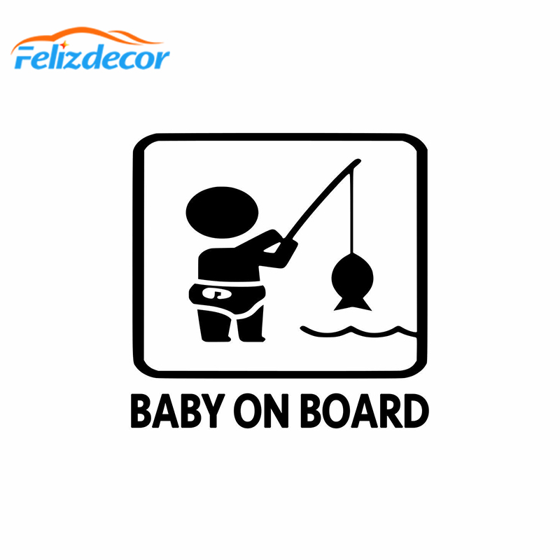 Fishing Baby on Board Car Sticker Exterior Accessories