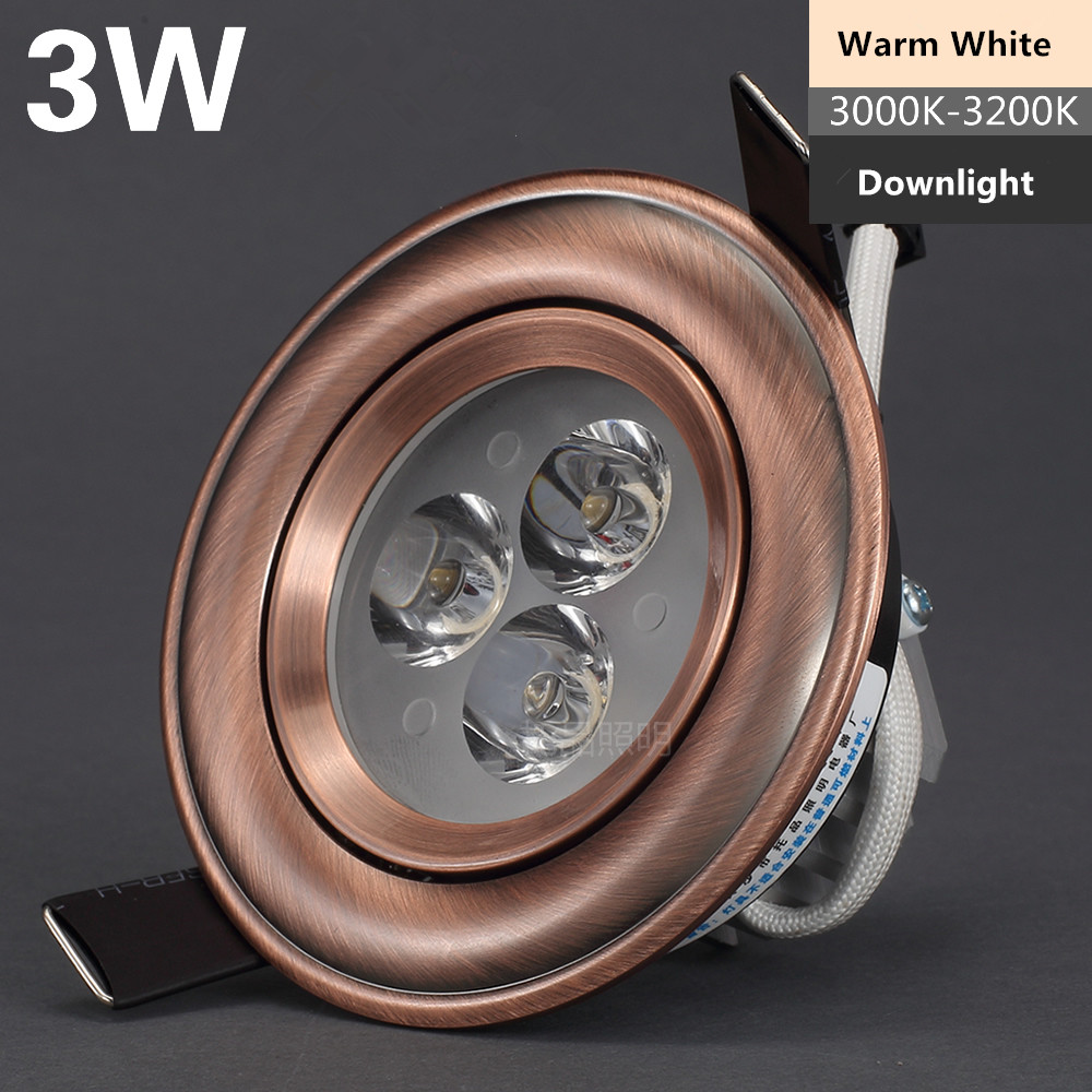 30X DHL estilo europeo bronce/cobre rojo 3W 5W 7W LED regulable blanco puro/frío lámpara de techo blanco/blanco cálido - 3