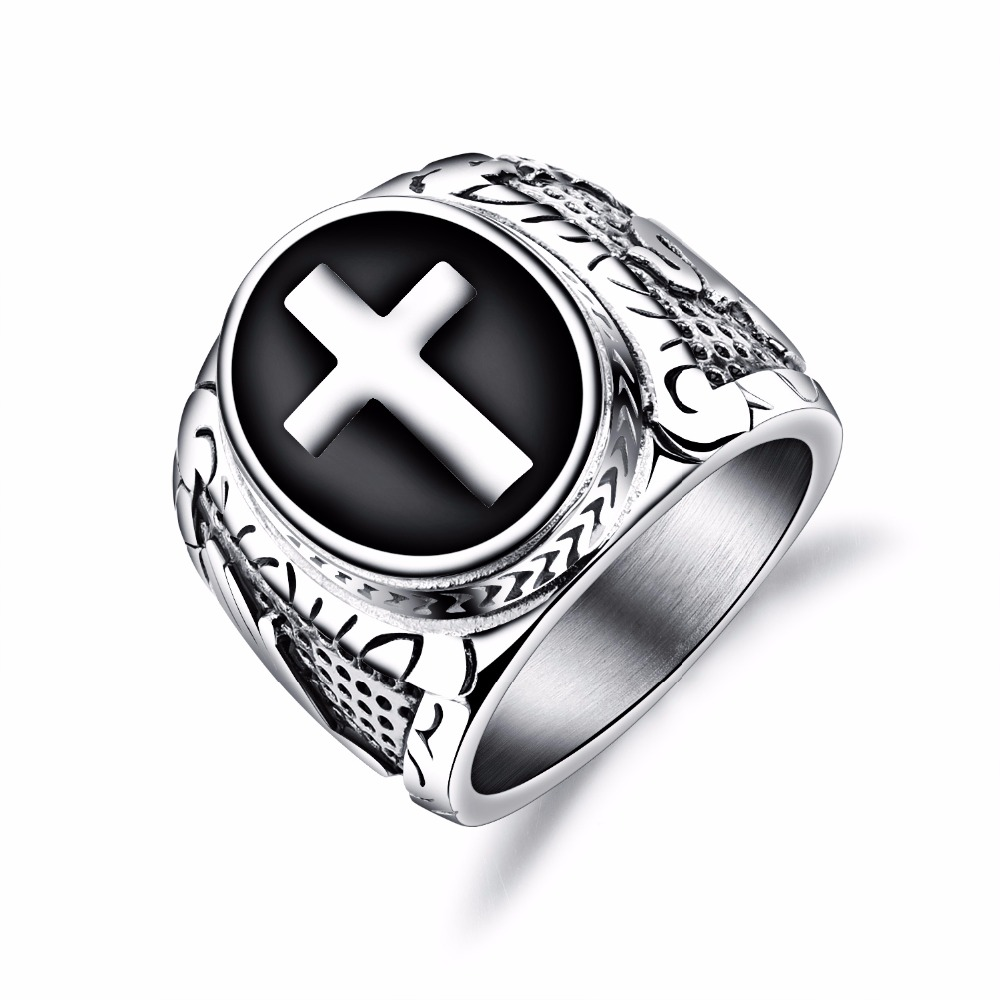 Punk Cross Biker Ring For Men With Stainles Steel 2Color Male Stamp Finger Band Christmas Jewelry Gift GJ603
