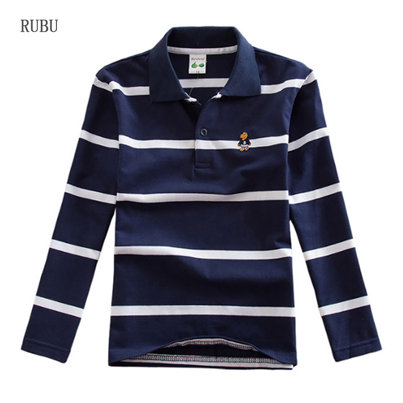 Shirt Kids Spring Boys Tee Long-Sleeve Fashion Tops Autumn Striped Cotton 14 16 3Y-16Y