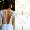 Hot Crystal Backdrop Gold Silver Plated Necklace Back Body Chain Summer Jewelry for Women Backless Dress Accessories