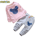 Menoea 2016 Otoño Estilo Casual Ropa de Bebé Niña Bebé Ropa Conjuntos de Dibujos Animados de Impresión Sudaderas + Pantalones 2 Unids para el Bebé ropa