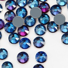 New SMC Cut Iron on Strass ss16 ss20 ss30 Blue flare New Color Hotfix  Rhinestones AAAAA 7c3c228137a6