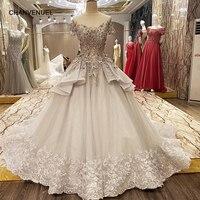 LS73365 luxury abiti da cerimonia da sera lace up back short sleeves ball gown grey evening dresses long 2017 real photos