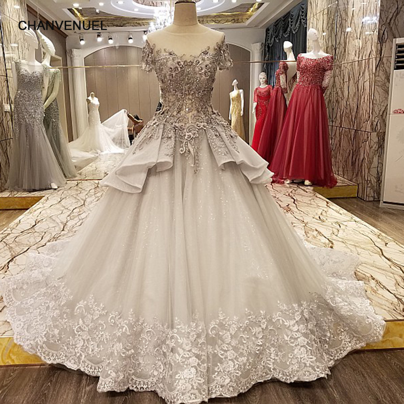 LS73365 luxury abiti da cerimonia da sera lace up back short sleeves ball gown grey   evening     dresses   long 2017 real photos