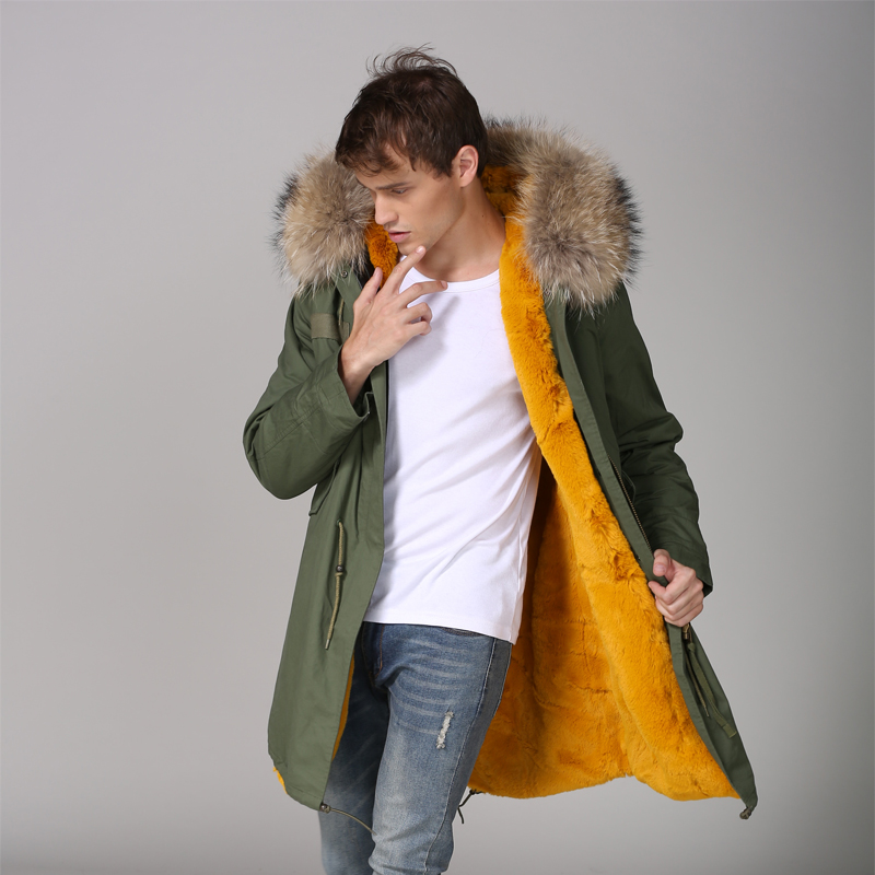 Giallo di Spessore faux fur lined Mens Casual Inverno Warmbody Usura Con Natural Raccoon fur Hoodies