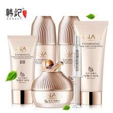 Conjunto de cuidados faciais extrato caracol 6 pçs clareamento hidratação profunda anti envelhecimento rugas tratamento acne reparação beleza cuidados com a pele