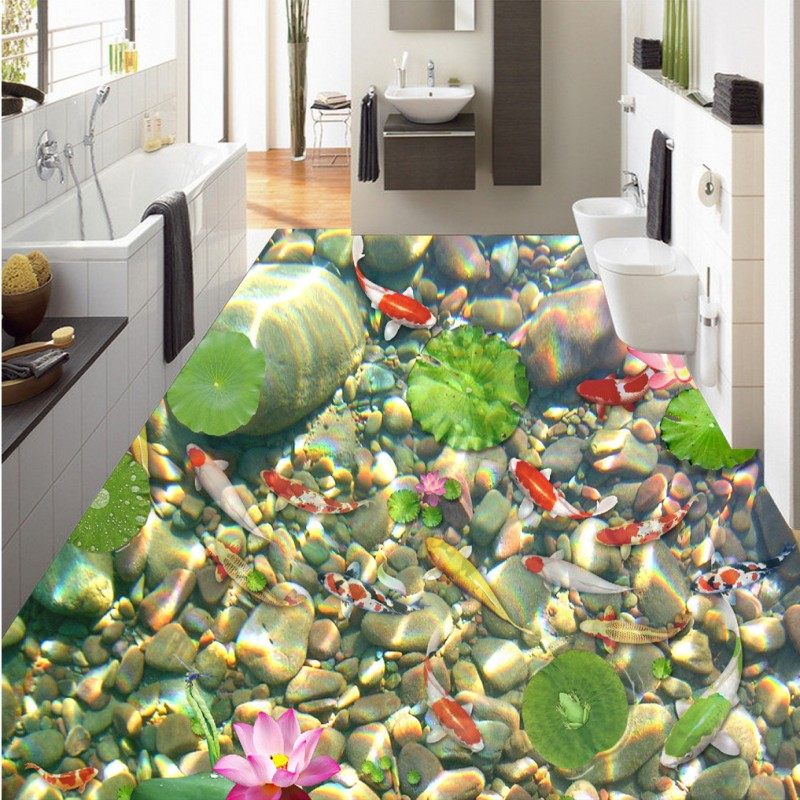 Free Shipping Water Floating Pebble 3D Painting Flooring thickened bedroom living room bathroom study lobby flooring mural free shipping marble texture parquet flooring 3d floor home decoration self adhesive mural baby room bedroom wallpaper mural