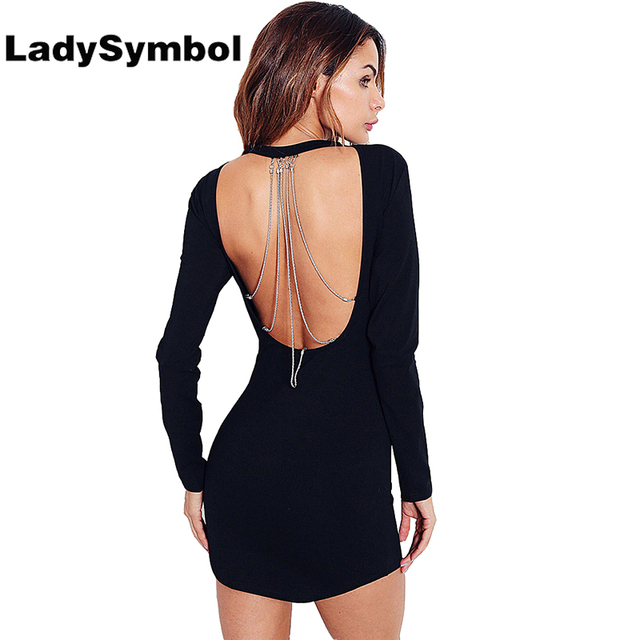 466966a43d75a US $23.32  LadySymbol Autumn Sexy Cotton Bodycon Dress Women Backless Chain  Black Casual Dress Long Sleeve Winter Elegant Party Mini Dress-in Dresses  ...