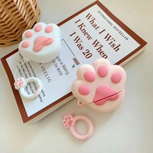 For AirPods Case Cute Pink Cat Cartoon silicon Protective cover Bluetooth Earphone Airpods 2 headphone with Strap