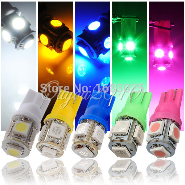 10pcs/lot T10 194 168 W5W 5 SMD 5050 LED Car Auto Side Wedge Lights Lamp Bulb DC12V Pink/Green/Blue/White/Yellow