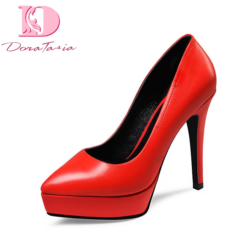 DoraTasia new women genuine leather thin high heels solid pointed toe platform shoes woman casual party pumps size 34-39 facndinll new black patent genuine leather pointed toe rhinestone sexy high heels lace up women pumps ladies party casual shoes